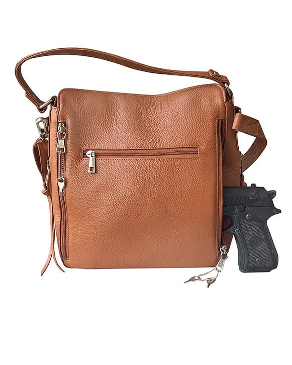 Cowhide Leather Concealed Carry Purse 7035 R concealed firearm Roma Leathers