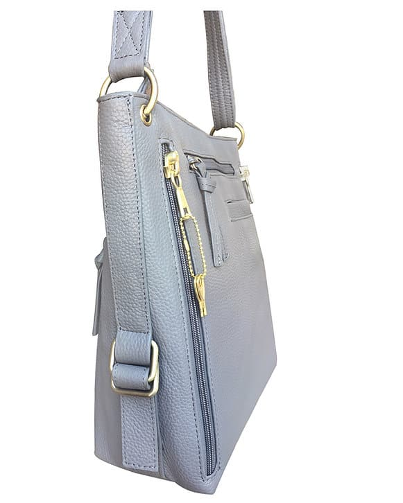 Cowhide Leather Concealed Carry Satchel Purse 7037 side Roma Leathers