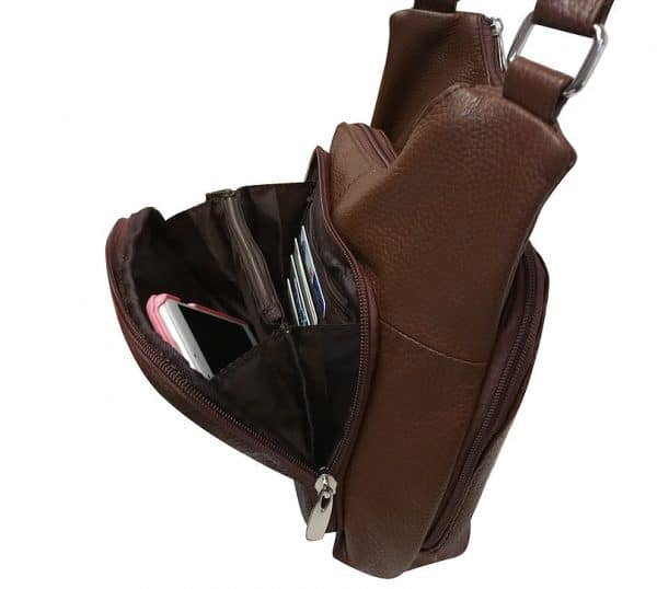 Cross Panel Leather Concealed Carry Crossbody Bag 7085 front pockets Roma Leathers