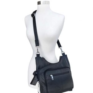 Cross Panel Leather Concealed Carry Crossbody Bag