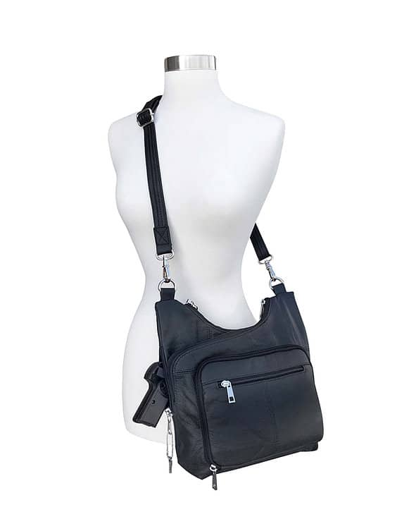 Cross Panel Leather Concealed Carry Crossbody Bag 7085 over the shoulder Roma Leathers