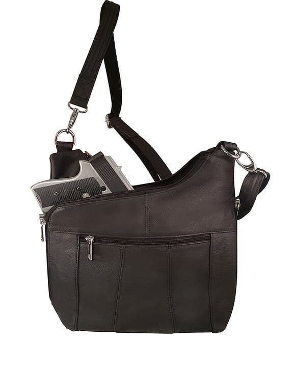 Cross Panel Leather Concealed Carry Crossbody Bag 7085 with firearm Roma Leathers