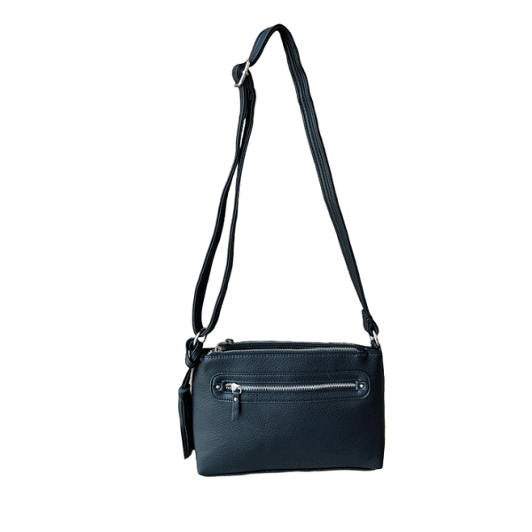 Crossbody Compact Concealed Carry Purse 8013R black back Roma Leathers
