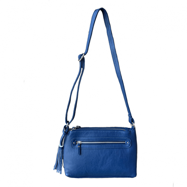 Crossbody Compact Concealed Carry Purse 8013R navy back Roma Leathers