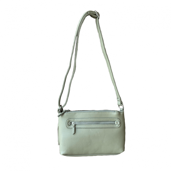 Crossbody Compact Concealed Carry Purse 8013R olive straps Roma Leathers