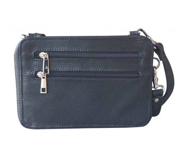 Dual Compartment Concealed Carry Leather Wristlet 7063 R Roma Leather