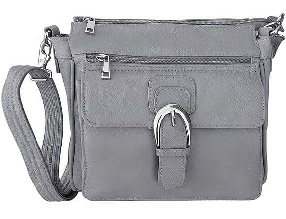 Gray Buckle Front Leather Concealed Carry Crossbody Bag 7084 Roma Leathers