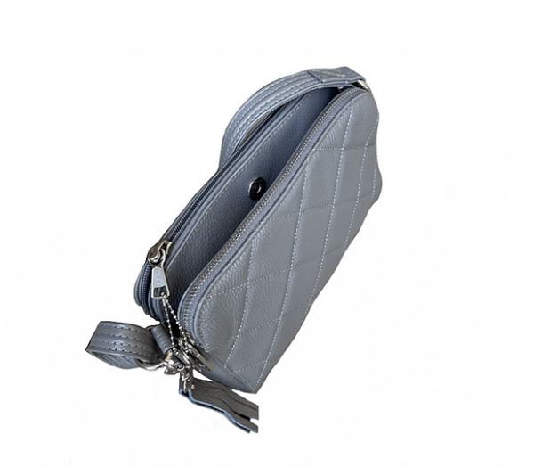 Gray Compact Leather Concealed Carry Purse 7048 top Roma Leathers