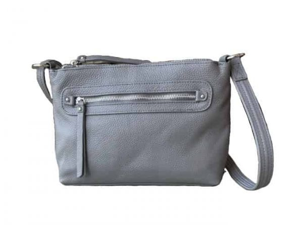 Gray Compact Leather Concealment Purse 7013 R Roma Leathers