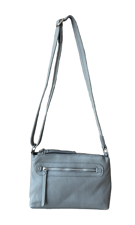 Gray Compact Leather Concealment Purse 7013 R full Roma Leathers