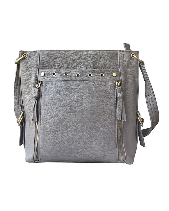 Gray Cowhide Leather Concealed Carry Satchel Purse 7037 Roma Leathers