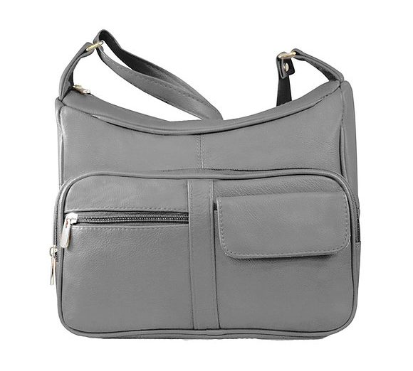 Gray Multi Pocket Leather Concealed Carry Crossbody Bag 7081 Roma Leathers