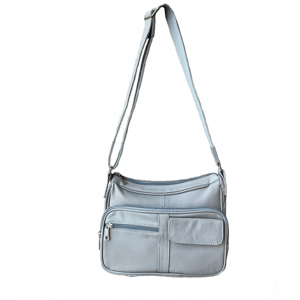 Gray Multi Pocket Leather Concealed Carry Crossbody Bag 7081 full Roma Leathers