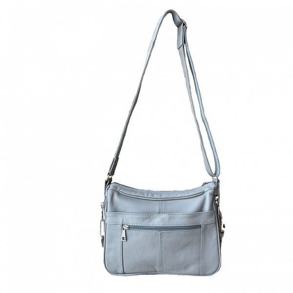 Gray Multi Pocket Leather Concealed Carry Crossbody Bag 7081 full2 Roma Leathers
