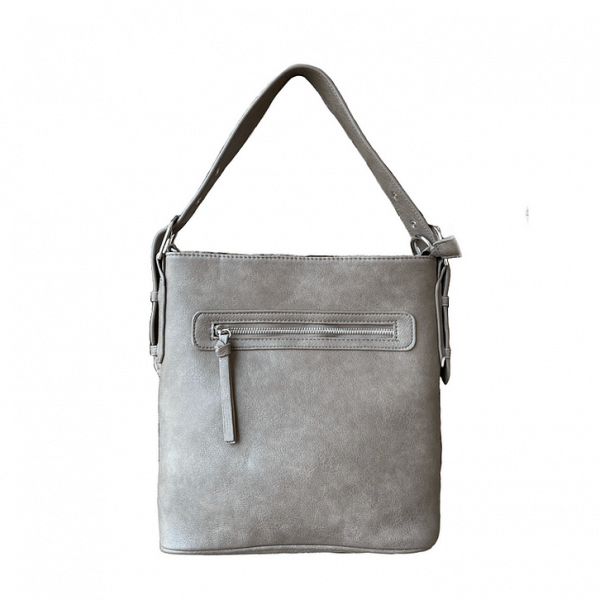 Gray Vegan Leather Concealment Purse 8009R Roma Leathers