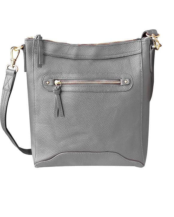 Gray Womens Cowhide Leather Cross Body zippered CCW Purse 7038 Roma Leathers