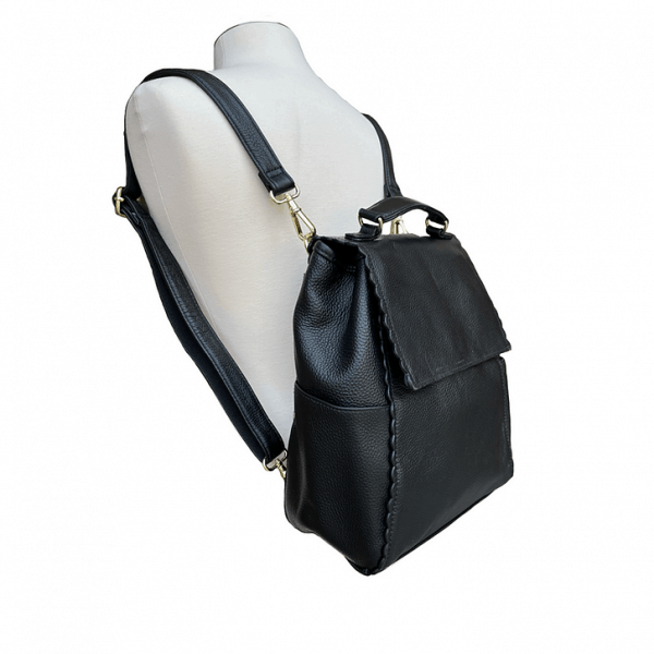 Leather Backpack Concealed Carry Purse 7049 on the body Roma Leathers