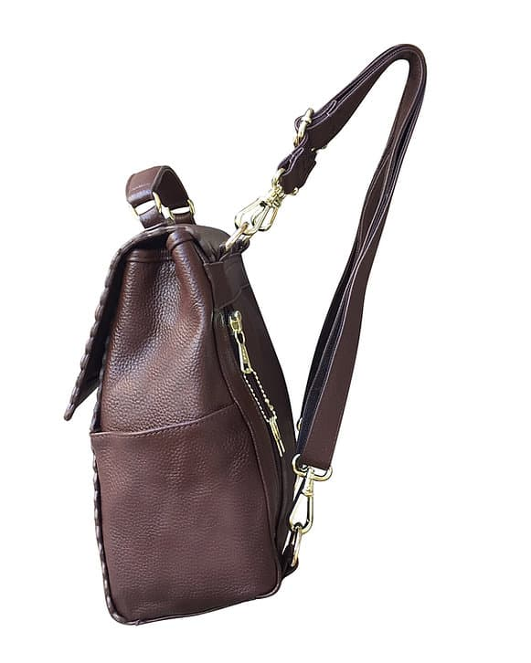 Leather Backpack Concealed Carry Purse 7049 side Roma Leathers