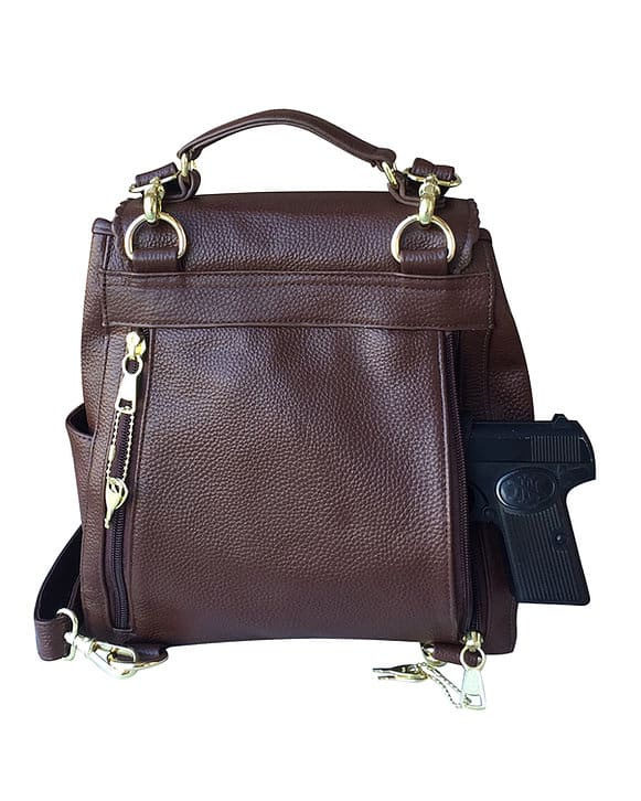Leather Backpack Concealed Carry Purse 7049 with firearm Roma Leathers