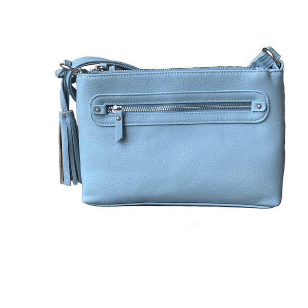 Light Blue Crossbody Compact Concealed Carry Purse 8013R Roma Leathers