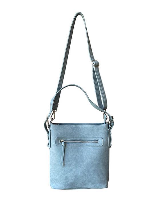 Light Blue Vegan Leather Concealment Purse 8009R Roma Leathers