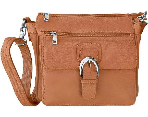 Light Brown Buckle Front Leather Concealed Carry Crossbody Bag 7084 Roma Leathers