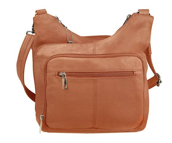 Light Brown Cross Panel Leather Concealed Carry Crossbody Bag 7085 Roma Leathers