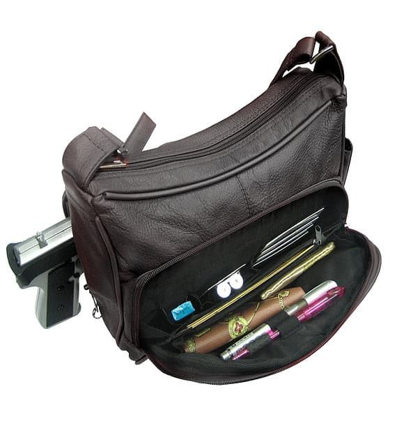 Multi Pocket Leather Concealed Carry Crossbody Bag 7081 front pockets Roma Leathers