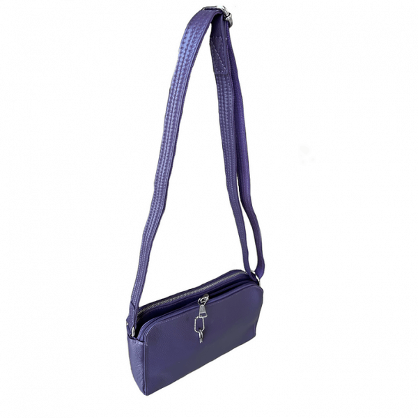 Purple Compact Leather Concealed Carry Purse 7048 back full Roma Leathers
