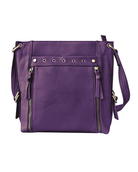 Purple Cowhide Leather Concealed Carry Satchel Purse 7037 Roma Leathers