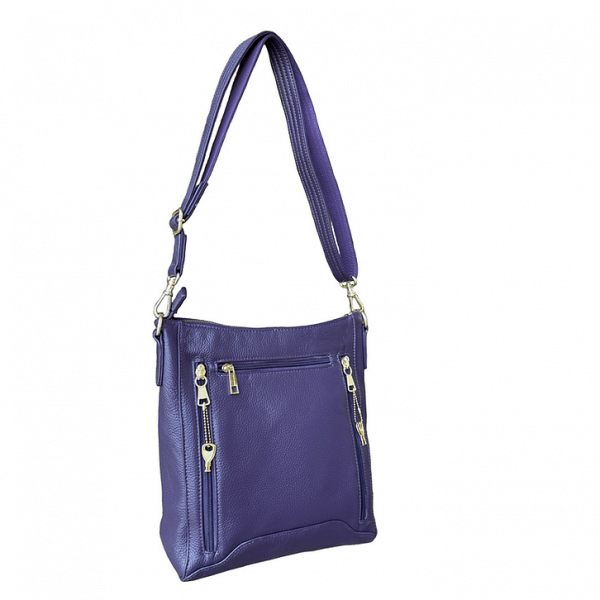 Purple Womens Cowhide Leather Cross Body zippered CCW Purse 7038 back Roma Leathers