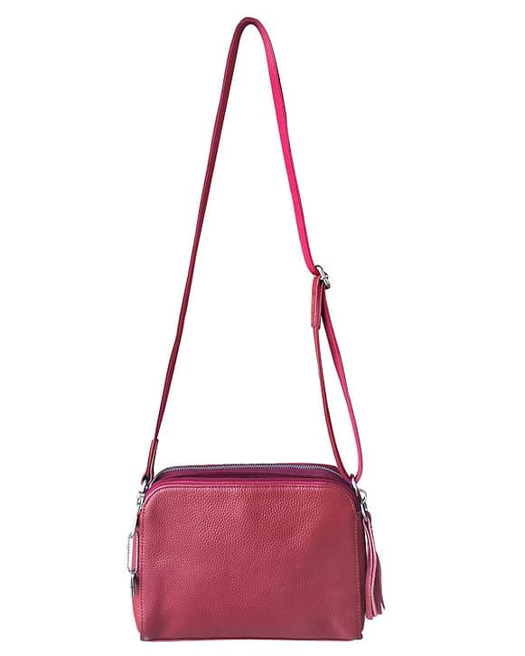 Red Compact Leather Concealed Carry Purse 7048 full back Roma Leathers