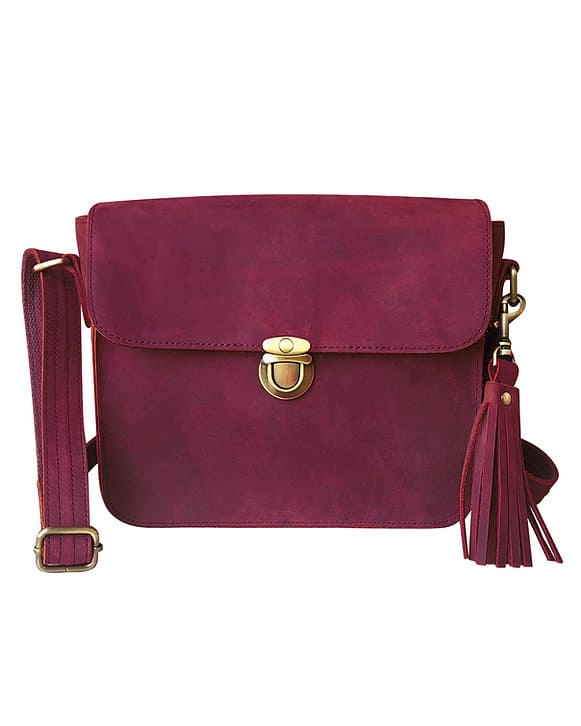 Red Leather Cross Body Concealed Carry Bag 9008 Roma Leathers