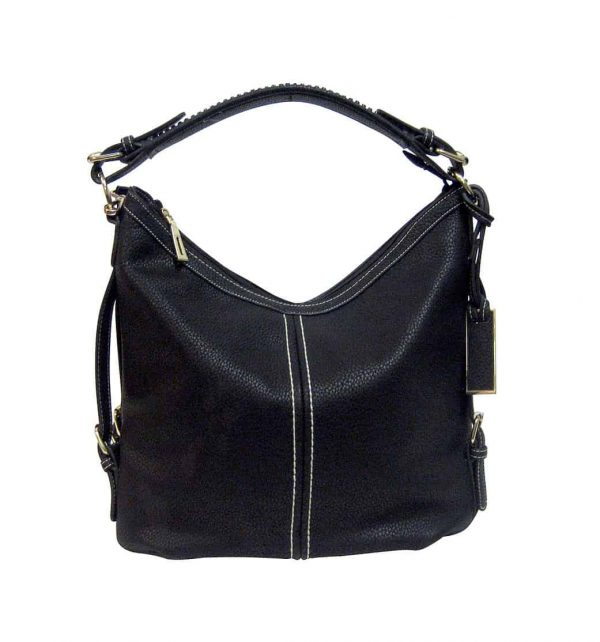 Small BoHo Leather Concealment Tote 8007S Black Roma Leather