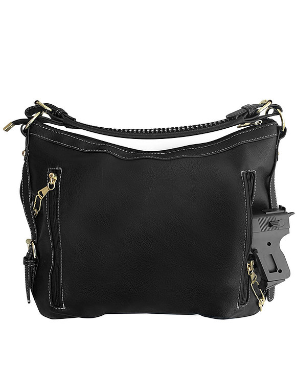Small BoHo Leather Concealment Tote 8007S Black back Roma Leather
