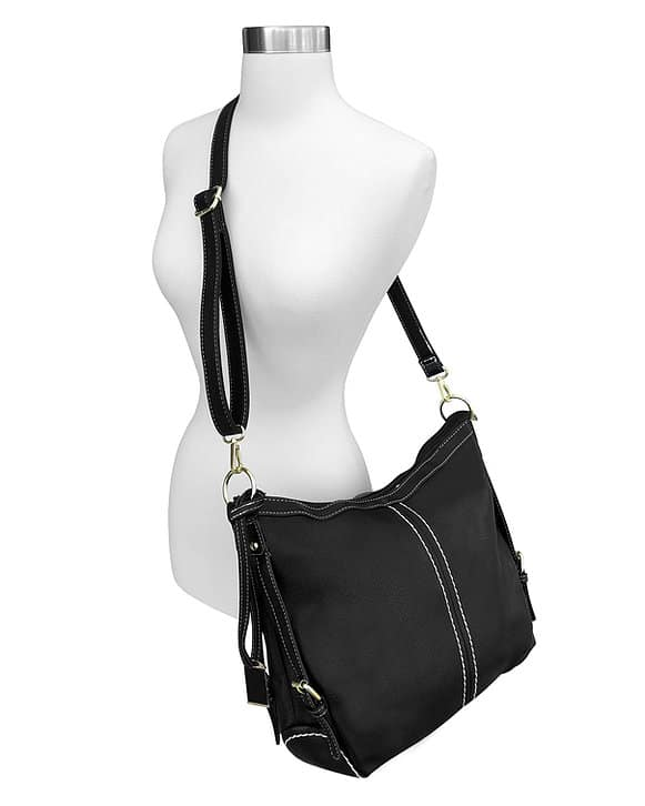 Small BoHo Leather Concealment Tote 8007S Black full Roma Leather