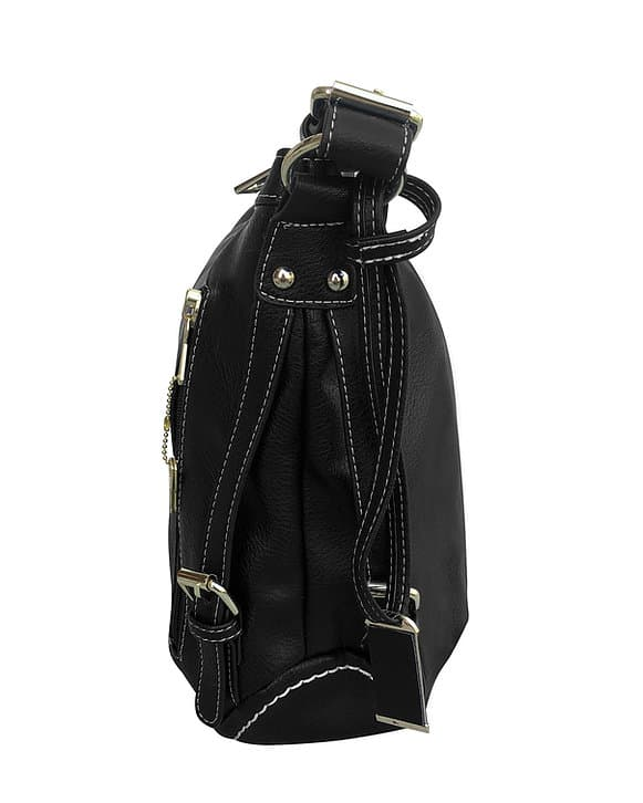 Small BoHo Leather Concealment Tote 8007S Black side Roma Leather