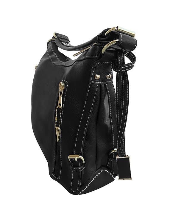 Small BoHo Leather Concealment Tote 8007S Black side2 Roma Leather
