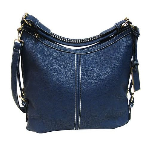 Small BoHo Leather Concealment Tote 8007S Blue Roma Leather