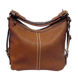 Small BoHo Leather Concealment Tote 8007S Brown Roma Leather