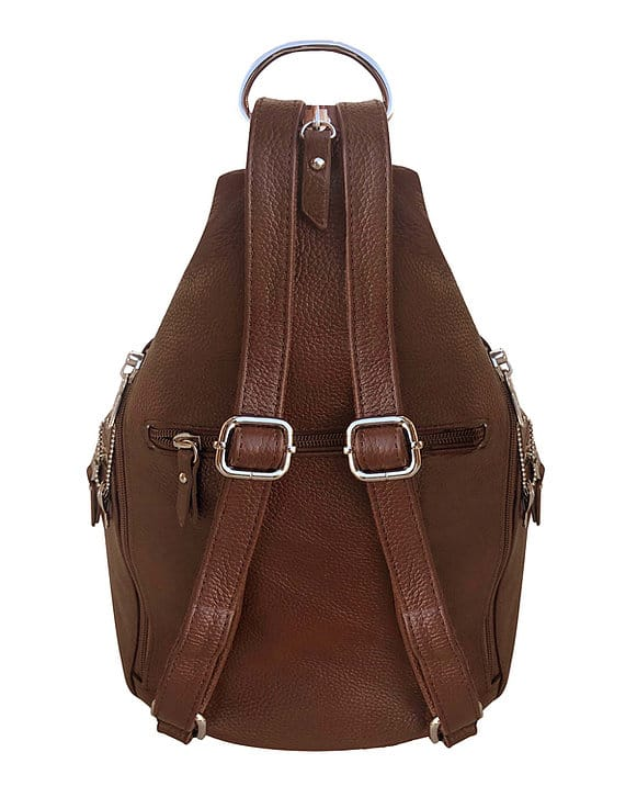 Snap Buckle Concealed Carry Backpack 7034 R back Roma Leathers
