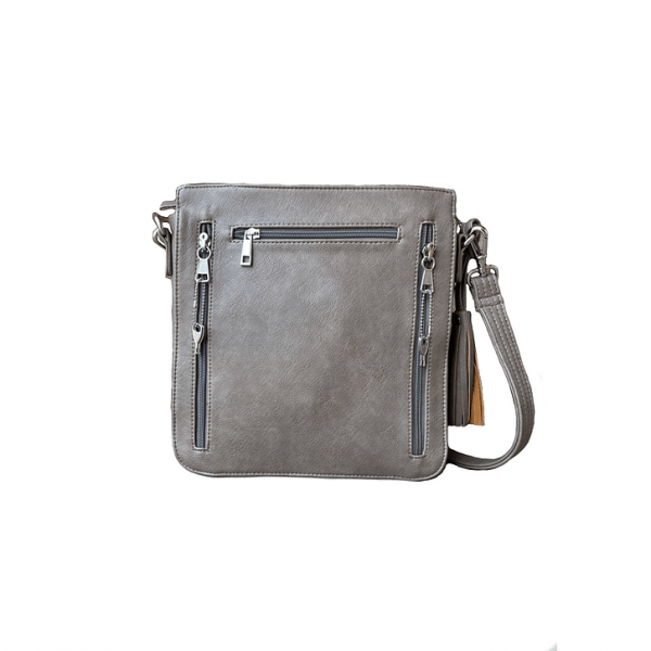 Vegan Leather Concealed Carry Crossbody bag 8008R back2 Roman Leather