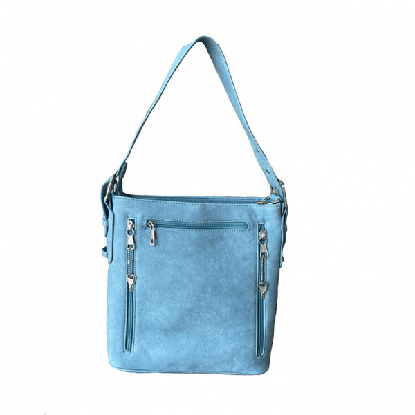 Vegan Leather Concealment Purse 8009R back blue Roma Leathers