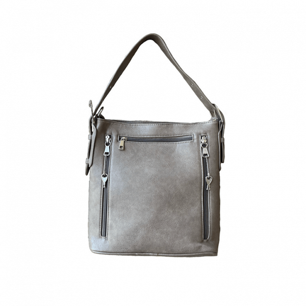 Vegan Leather Concealment Purse 8009R back gray Roma Leathers