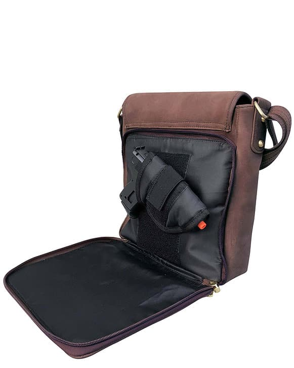 Western Leather Concealed Carry Satchel 9005 gun compartment and holster Roma Leathers