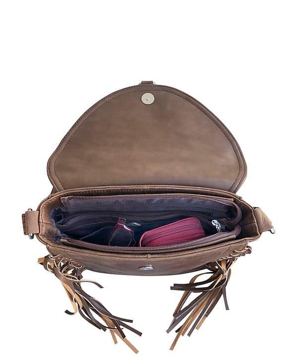 Western Leather Fringe Conceled Carry Crossbody Bag 9002 inside Roma Leathers