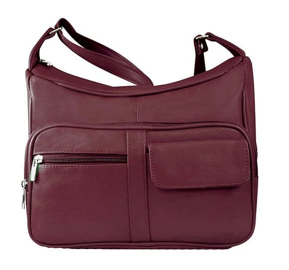 Wine Multi Pocket Leather Concealed Carry Crossbody Bag 7081 Roma Leathers